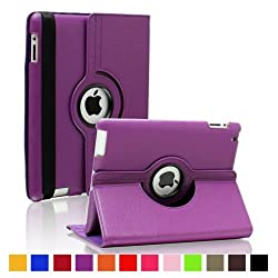 DNG 360 Rotating PU Leather Case Cover For Apple ipad 2 3 and New ipad 4 Purple