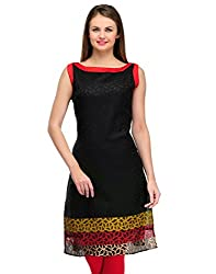 Awesome Fab Black Color Brasso Fabric Women's Straight Kurti