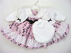 Girls Pink/Black Scottie Dog Pattern Dress Jacket Hat Set Outfit by Baby Brand