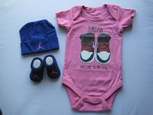 Nike Jordan Infant New Born Baby Boy/Girl 0-6 Months 1 Lap/Shoulder Bodysuits, 1 Pairs of Booties and 1 Cap With
