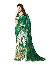 Mannequin Store Green Georgette Designer Saree With Unstitched Bloues Piece