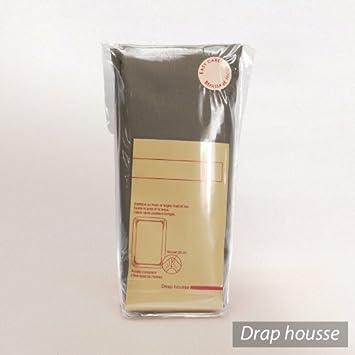 drap housse 2x80x200 uni coton coton marron muscade tpr t te et pied relevable pour. Black Bedroom Furniture Sets. Home Design Ideas