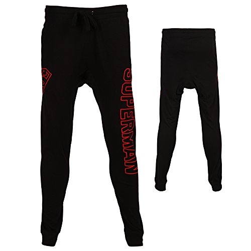 Superman Logo Mens Jogger Pants-Black (Large) (Superman Pants compare prices)