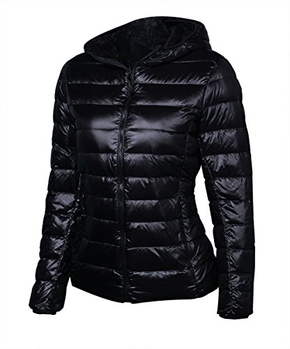 Sarin Mathews Womens Packable Light Weight Down Coat Short Outerwear with Hood-Black M (Lightweight Black Hood compare prices)