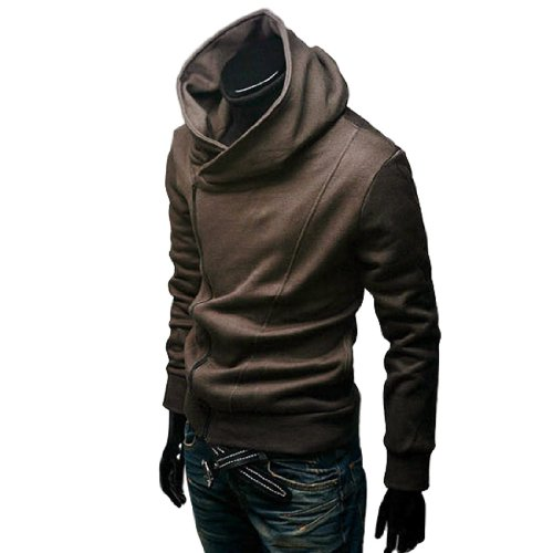 Men Long Sleeve Fleece Lined Hooded Zip up Sweatshirt Coffee L