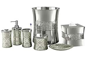 Nu Steel 7 Piece Mercury Glass Bathroom Accessory Set Patchwork Mercury Shiny Home