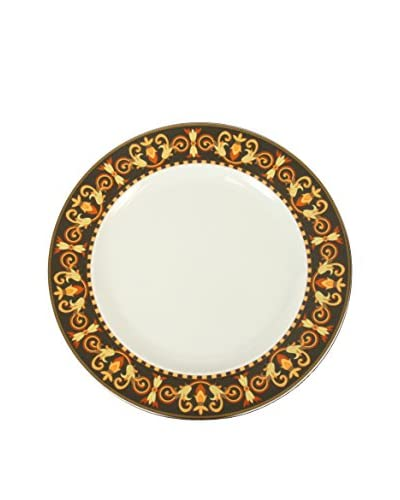 "Versace By Rosenthal Barocco 9"" Plate, Black/Yellow/White/Orange"