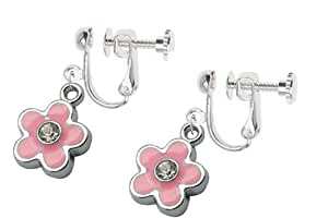 kids clip on screw type earrings pink flower with crystal with free trinket gift box. Black Bedroom Furniture Sets. Home Design Ideas