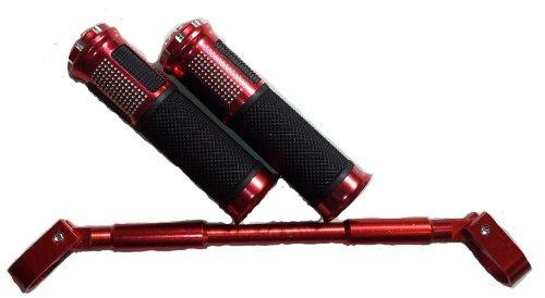 レッド アルミ ハンドル ブレースバー & アルミ カスタム グリップ 2個 セット トータル カラー コーディネート φ22.2mm用