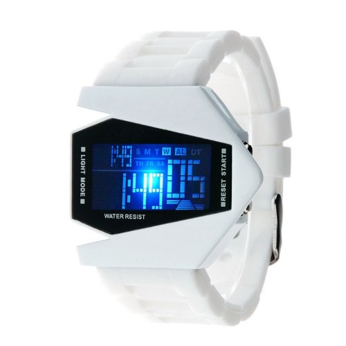 Bomber LED Light 12/24Hrs Sport Digital Calendar Rubber Silicone Men's Young Men's Watch - WHITE