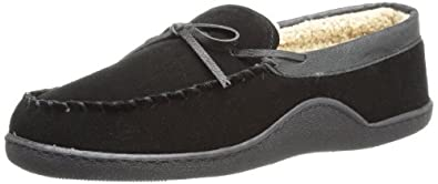 Isotoner Men's Genuine Suede Moccasin Slipper with Sherpa Lining, Black, XX-Large/13-14