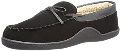 Isotoner Men's Genuine Suede Moccasin Slipper with Sherpa Lining, Black, Large/9.5-10.5
