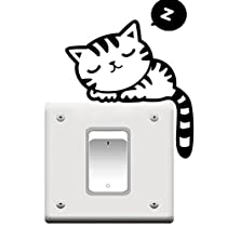 Cute Cat Nap Pet Light Switch Funny Wall Decal Vinyl Stickers Black