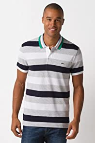 Short Sleeve Bar Stripe Pique Polo Multi Color Collar