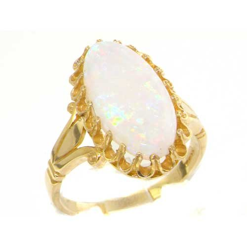 Quality Solid Yellow Gold Genuine 2.5ct Opal English Victorian Inspired Ring - Size 9.75 - Finger Sizes 5 to 12 Available