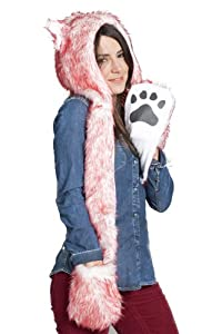 Fur Animal Hat Hood Pink Rabbit with Mittens Unisex Winter Ski Gloves Scarf with Paws