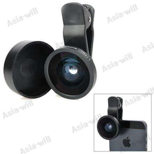 Universal 0.4X Super Wide Angle Lens For Mobile Phones - Black