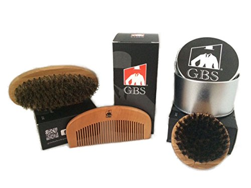 GBS-Combo-Set-3-Pc-Kit-Premium-Oval-Wood-Beard-Brush-with-Boar-Bristles-Bamboo-All-Fine-Beard-Comb-Compact-Wood-Beard-Brush-NylonSynthetic-Bristles-Free-Travel-Silver-Tin