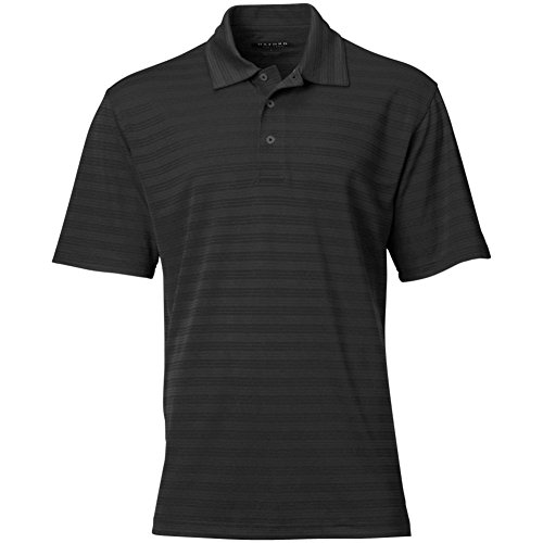 Oxford America Men's Links Tech Solid Textured Stripe Shorts Sleeve Polo (Black, Small)