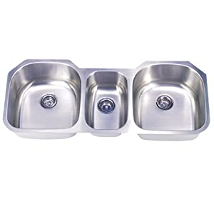 "50.38"" x 20.5"" Rancho Undermount Offset Triple Bowl Kitchen Sink"