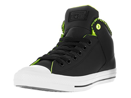 Converse Mens Unisex Chuck Taylor All Star High Street Kurim Mid Sneaker, Black/White/Volt, 9.5
