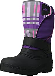 Tundra Boots Kids Girl\'s Quebec (Toddler/Little Kid/Big Kid) Black/Purple Plaid Boot 13 Little Kid M