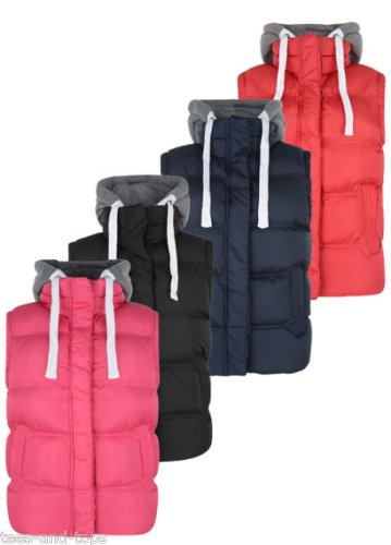 LADIES HOODED PADDED GILET / BODY WARMER WITH CONTRAST REMOVABLE HOOD STYLE SK-CALIFORNIA. COLOUR – NAVY. SIZE – 10