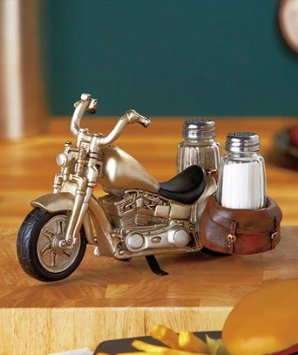 Motorcycle Glass Salt and Pepper Shaker Set - Kitchen and Dining Seasoning