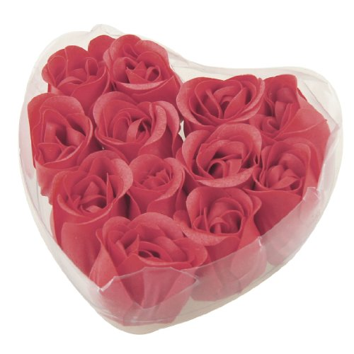 Rosallini 12 Pcs Red Fragrant Rose Bud Petal Soap Wedding Favor + Heart Shape Box