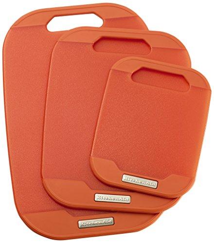 KitchenAid Purred Non Slip Translucent Poly Board (Set of 3), Pumpkin (Kitchenaid Cutting Board compare prices)