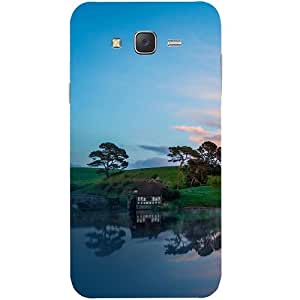 Casotec Hill Lake Sunset Design Hard Back Case Cover for Samsung Galaxy J7