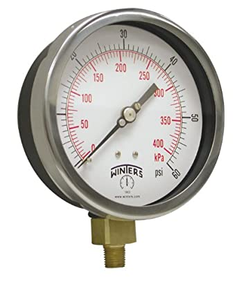 "Winters P3S 300 Series Aluminum Pressure Gauge with Stainless Steel 316L Internals, 0-600 psi/kpa, 6"" Dial Display, +/-5% Accuracy, 1/4"" NPT Bottom Mount"