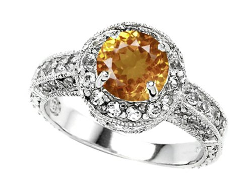 Star K 7Mm Round Simulated Imperial Yellow Topaz Engagement Ring Size 5