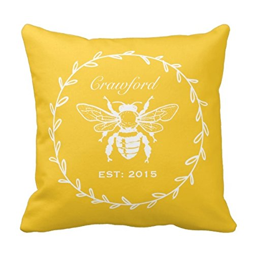 Decors Vintage Yellow Honey Bee Laurel Honeycomb Monogram Throw Pillow Case Cushion Cover Home Sofa Decorative 18 X 18 Pillows