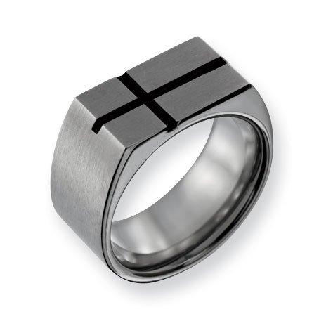 Titanium 10mm Black Enamel Cross Pendant Satin Band Ring - Size 9.5 - JewelryWeb