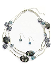 M&S Collection Assorted Bead Tubular Necklace & Earrings Set