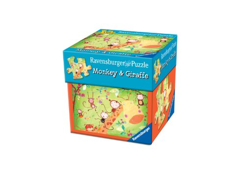 Monkey and Giraffe Puzzle in a Gift Box, 100-Piece