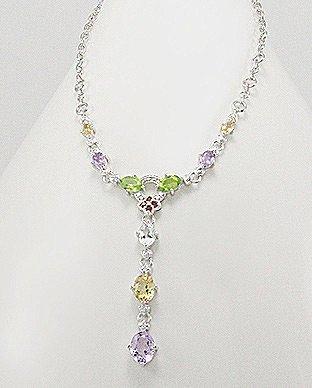 Glee Jewellery Rhodium Plated Sterling Silver Necklace with Gem Stones & Semi-Gem Stones :- Amethyst, Citrine, Garnet, Peridot, Sky-Blue Topaz & White Diamond