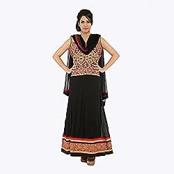 Nirali Women's Georgette Salwar Kameez SemiStiched Dress Material - Free Size (Black and Red)