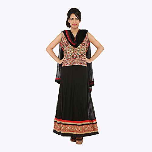 Nirali Women's Georgette Salwar Kameez SemiStiched Dress Material - Free Size (Black And Red)