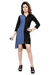 Trendif Blue And Black Poly Crepe Desinger Printed Dress