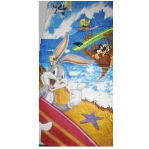 Looney Tunes Tweety, Bugs Bunny, Taz Tasmanian Devil, & Sylvester Surfing Beach Towel ~ Can Be Used for Bath
