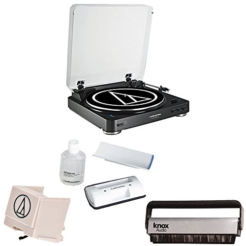 Audio-Technica-AT-LP60BK-BT-Bluetooth-Automatic-Turntable-Black-Knox-Carbon-Fiber-Vinyl-Brush-w-Additional-ATN3600L-Stylus-AT6012-Cleaning-Kit