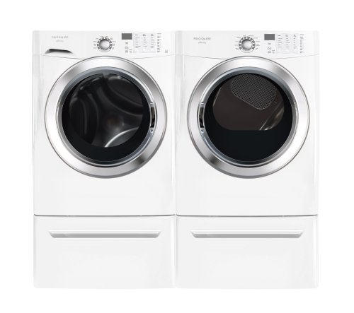 Frigidaire Affinity White 3.8 Cu. Ft. Front Load Steam Washer & 7.0 Cu. Ft. ELECTRIC Steam Dryer Laundry Set with Pedestals FAFS4073NW FASE7073NW CFPWD15W
