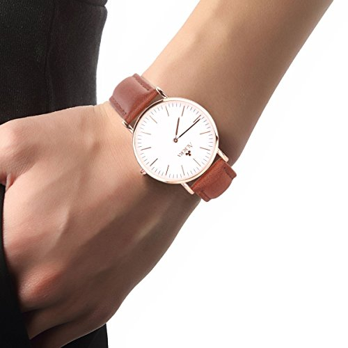 Aurora Women's Metal Retro Casual Round Dial Quartz Analog Wrist Watch with Brown Leather Band-Rose Gold 2