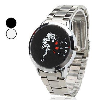 Unisex Dragon Style Steel Analog Quartz Wrist Watch (Silver),Black