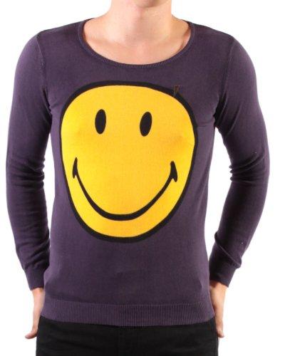 Religion Clothing men's grey long-sleeve crew-neck jumper, Yellow/Purple- S