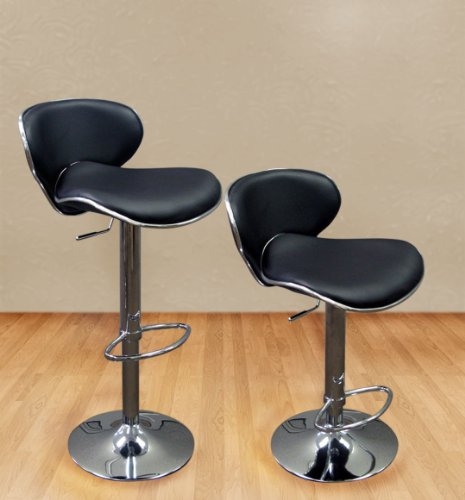 Modern Set of (2) Brand New Black Swivel Leather Bar Stool Pub Barstool