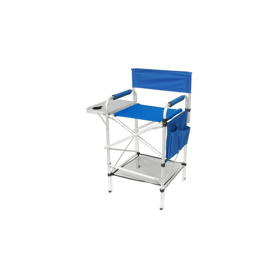 World Class Tall SPLIT BACK ROYAL BLUE Heavy Duty Folding Directors Chair with Side Table, Cup Holder, Foot Rest, Dual Pocket Side Storage Bag, AND NEW UNDER SEAT STORAGE NET