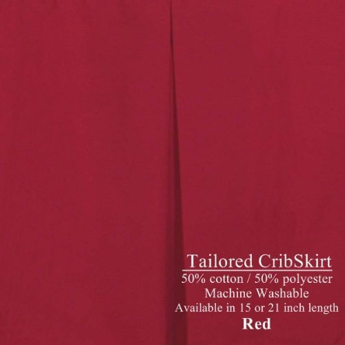 Crib Dust Ruffle Tailored Cribskirt 15 inches long Color: RED